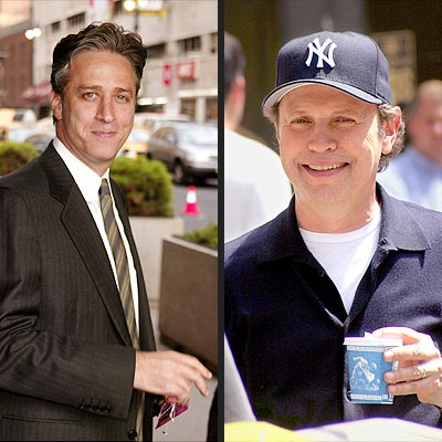 What does emcee Jon Stewart have in common with veteran Oscar host Billy Crystal? | Billy Crystal, Jon Stewart