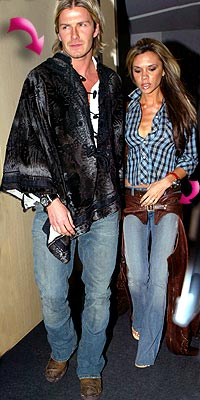 THE BECKHAMS'PONCHO AND CHAPS photo | David Beckham, Victoria Beckham