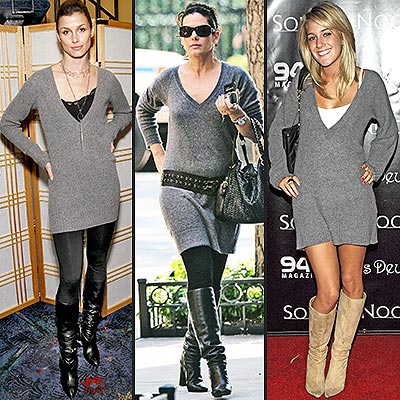 GRAY SWEATER DRESSES  photo | Bridget Moynahan, Heidi Montag, Sandra Bullock