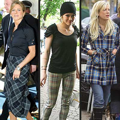 Plaid photo | Hilary Duff, Jennifer Aniston, Tori Spelling