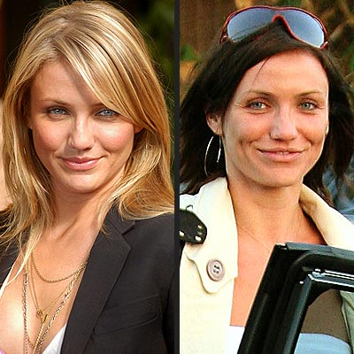 Side by Side Photo Of Cameron Diaz with and without bangs