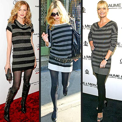 GREY STRIPED SWEATER DRESSES photo | Heather Graham, Jamie Pressly