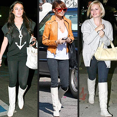 WHITE BOOTS photo | Elisha Cuthbert, Lindsay Lohan, Nicole Richie
