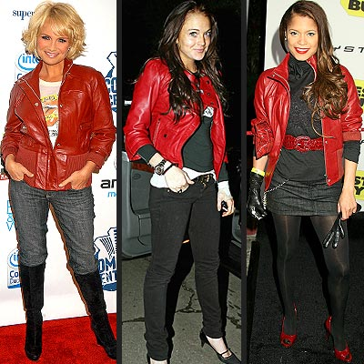 RED LEATHER JACKETS  photo | Blu Cantrell, Kristin Chenoweth, Lindsay Lohan