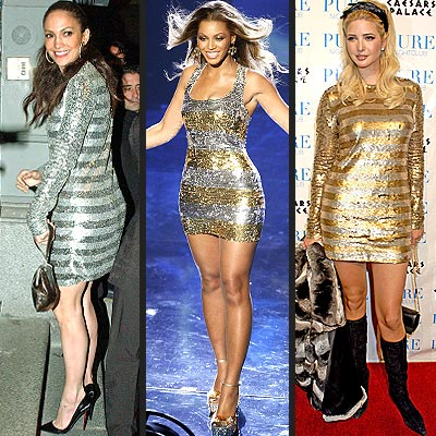 SEQUINED STRIPED DRESSES photo | Beyonce Knowles, Ivanka Trump, Jennifer Lopez