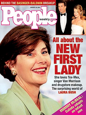 photo | Laura Bush Cover, Presidents and First Ladies, Alec Baldwin, Kim Basinger, Laura Bush, Politicians and Their Families, Van Morrison