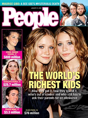 photo | Ashley Olsen Cover, Famous Bloodlines, Growing Up on the Cover, Moppets: Kid Stars, Mary-Kate Olsen Cover, Ashley Olsen, Athina Onassis Roussel, Barry Gibb, Charlotte Church, Frankie Muniz, Mary-Kate Olsen, Maurice Gibb, Robin Gibb