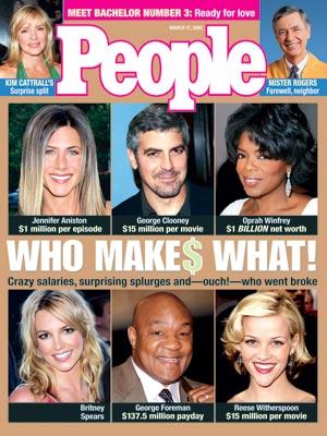 photo | Bills, Bills, Bills, Reese Witherspoon Cover, Britney Spears, Fred Rogers, George Clooney, George Foreman, Jennifer Aniston, Kim Cattrall, Oprah Winfrey, Reese Witherspoon