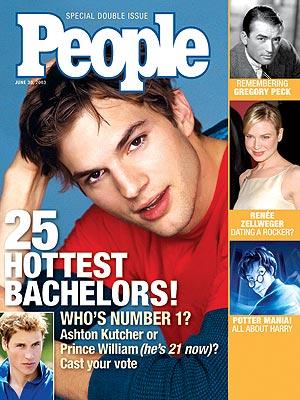 photo   Harry Potter, Ashton Kutcher Cover, Heartthrobs, Hottest Bachelors on Covers, Ashton Kutcher, Gregory Peck, Prince William, Renee Zellweger