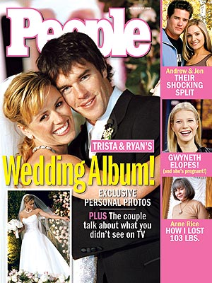 photo | Couples, Weddings, The Bachelor, Celebrity Wedding Albums, Ryan Sutter Cover, TV on Covers, Trista Rehn Cover, Andrew Firestone, Anne Rice, Gwyneth Paltrow, Jen Schefft, Ryan Sutter, Trista Rehn