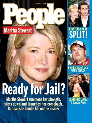 photo | Celebrity Crime, Martha Stewart Cover, Dale Earnhardt Jr., Jake Gyllenhaal, Jennifer Lopez, Kirsten Dunst, Martha Stewart
