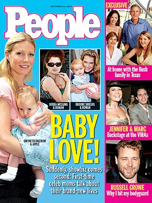 photo | Babies, Kids & Family Life, Gwyneth Paltrow Cover, Young Hollywood Moms, Apple Martin, Barbara Bush, Brooke Shields, Debra Messing, George W. Bush, Gwyneth Paltrow, Jenna Bush, Jennifer Lopez, Laura Bush, Marc Anthony, Russell Crowe