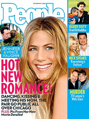 photo | Hook Ups, Jennifer Aniston Cover, Real People Stories, Brad Pitt, Jennifer Aniston, Jessica Simpson, Maddox Jolie-Pitt, Nick Lachey, Vince Vaughn