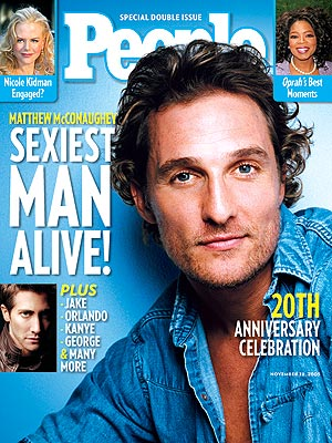 photo | Matthew McConaughey Cover, Sexiest Man Alive, George Clooney, Jake Gyllenhaal, Kanye West, Matthew McConaughey, Nicole Kidman, Oprah Winfrey, Orlando Bloom