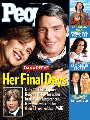 photo | Death, Cancer, Christopher Reeve Cover, Dana Reeve Cover, Ace Young, Christopher Reeve, Dana Reeve, Michael Bolton, Nicollette Sheridan, Teri Hatcher