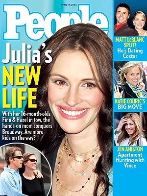 photo | Kids & Family Life, Julia Roberts Cover, Andrea Anders, Danny Moder, Jennifer Aniston, Julia Roberts, Katie Couric, Matt LeBlanc