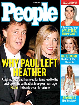 photo | Heather Mills Cover, Nasty Breakups and Divorces, Paul McCartney Cover, Beyonce Knowles, Heather Mills, Katie Couric, Paul McCartney, Scott Peterson