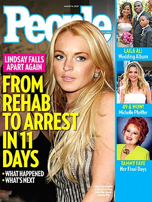 photo | DUIs, Meltdowns, Rehab, Substance Abuse, Celebrity Crime, Rocky Road Rehab, Dark Side of Fame, Lindsay Lohan Cover, Stars Behaving Badly, Laila Ali, Lindsay Lohan, Michelle Pfeiffer, Tammy Faye Messner