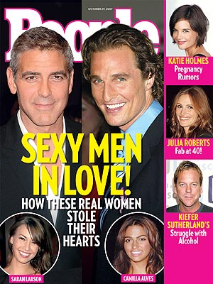 photo | Couples, Hook Ups, George Clooney Cover, Heartthrobs, Matthew McConaughey Cover, George Clooney, Julia Roberts, Katie Holmes, Kiefer Sutherland, Matthew McConaughey