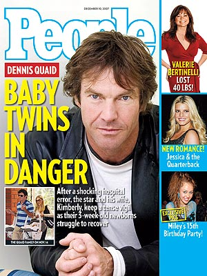 photo | Famous Family Tragedies, Kids & Family Life, Miracle Babies, Medical Conditions, Battling Illnesses, Dennis Quaid Cover, Coping and Overcoming Illness, Dennis Quaid, Jessica Simpson, Kimberly Buffington, Miley Cyrus, Valerie Bertinelli