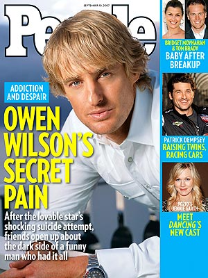 photo | Dark Secrets, Suicide and Attempts, Depression, Substance Abuse, Dark Side of Fame, Famous Bloodlines, Heartthrobs, Owen Wilson Cover, Bridget Moynahan, Jennie Garth, Owen Wilson, Patrick Dempsey, Tom Brady