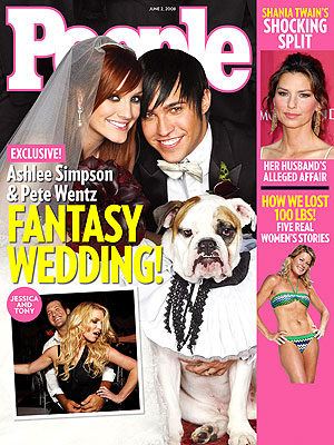 photo | Secret Weddings, 2000, Animals On Cover, Celebrity Wedding Albums, Ashlee Simpson, Jessica Simpson, Pete Wentz, Shania Twain, Tony Romo