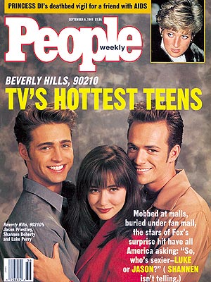 photo | Beverly Hills, 90210, 1990, Jason Priestley Cover, Luke Perry Cover, Shannen Doherty Cover, TV Milestones, Teen Idols, Jason Priestley, Luke Perry, Princess Diana, Shannen Doherty