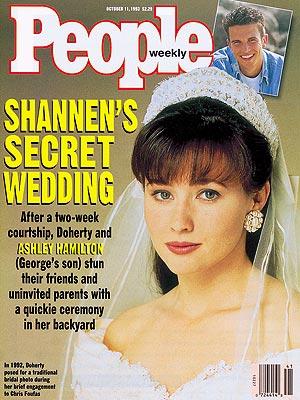 photo | Secret Weddings, Weddings, Celebrity Wedding Albums, Shannen Doherty Cover, Ashley Hamilton, George Hamilton, Shannen Doherty