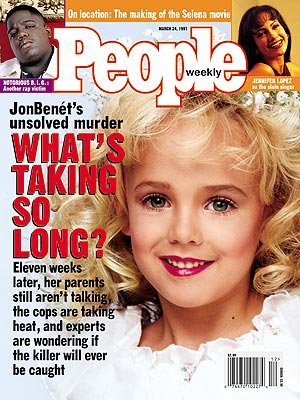 photo | Murder, Beauty Queens, Died Too Young, Gripping News Stories, Historical Events, JonBenet Ramsey Cover, Coping and Overcoming Illness, Too Crazy to Believe, Real People Stories, Jennifer Lopez, JonBenet Ramsey, Notorious B.I.G.