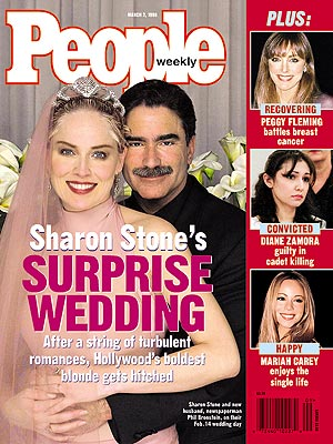 photo | Marriage, Secret Weddings, Weddings, Celebrity Wedding Albums, Sharon Stone Cover, Mariah Carey, Peggy Fleming, Phil Bronstein, Sharon Stone