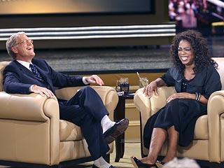 Oprah Winfrey Welcomes David Letterman on Her Show