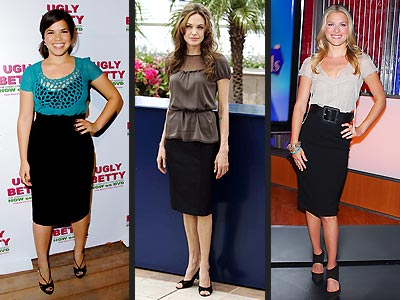 Biggest Fashion Trends – From Head to Toe - PENCIL SKIRTS - Ali Larter, America Ferrera, Angelina Jolie : People.com :  actor individual america ferrera angelina jolie