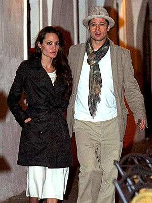 Angelina Jolie and Brad Pitt in Prague