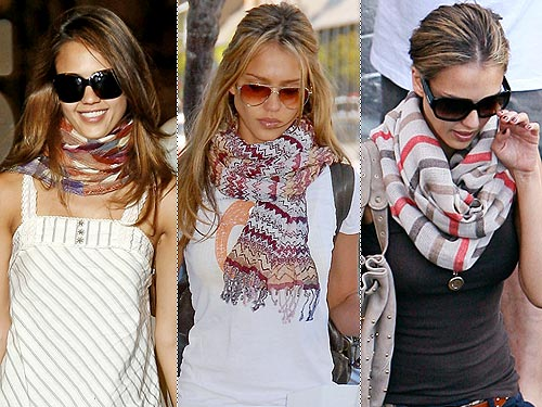 Jessica Alba Really Loves Her Scarves Style News Stylewatch
