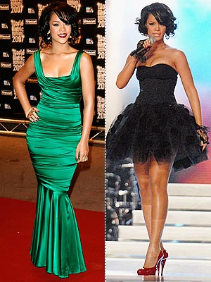 rihanna in green dress
