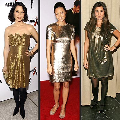 GOLD DRESSES  photo | Jamie-Lynn Sigler, Lucy Liu, Thandie Newton