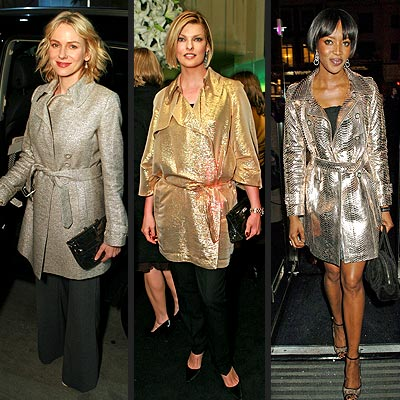 METALLIC TRENCHES  photo | Linda Evangelista, Naomi Campbell, Naomi Watts