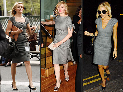 GRAY SHEATHS  photo | Cameron Diaz, Madonna, Victoria Beckham