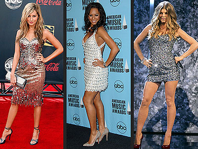 SPARKLING SILVER DRESSES  photo | Ashley Tisdale, Fergie, Melanie Brown
