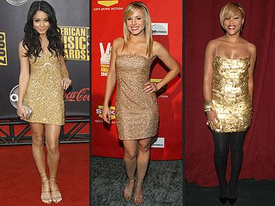 GOLD SEQUINED DRESSES photo | Vanessa Hudgens