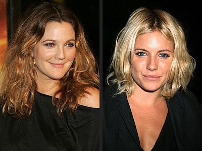 Drew Barrymore blonde wavy long hairstyles with dark