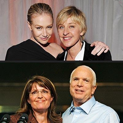 photo | Ellen DeGeneres, John McCain, Portia de Rossi, Sarah Palin