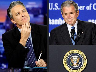 photo | George Bush, Jon Stewart