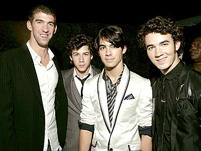 HE'S WITH THE BAND photo | Joe Jonas, Jonas Brothers, Kevin Jonas, Michael Phelps, Nick Jonas