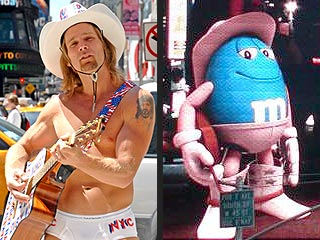 Naked Cowboy Wins Round One Vs. M&Ms