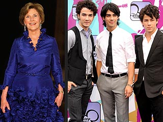 Laura Bush Shares Spotlight with Jonas Brothers