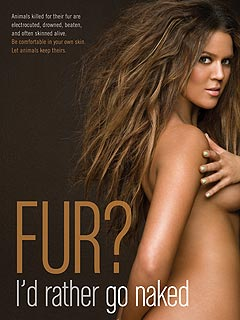 Khloe Kardashian Goes Naked for PETA Ad
