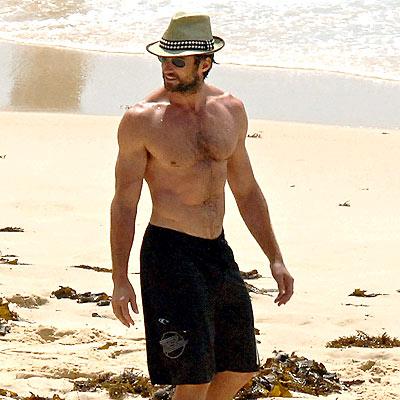 Hugh Jackman on the Beach