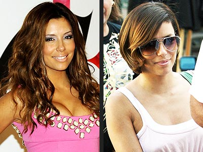 Eva Longoria side by side long layered hare and a short bob hair style