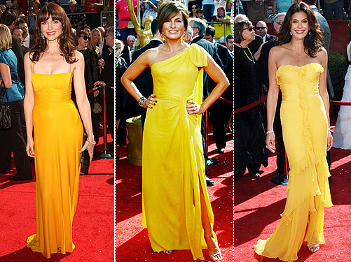 Canary yellow took center stage with Saffron Burrow's Herve Leroux gown,
